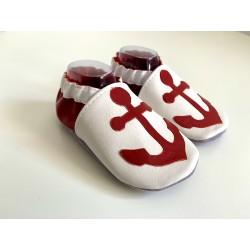 Chaussons en cuir souple - ancre marine - rouge et blanc
