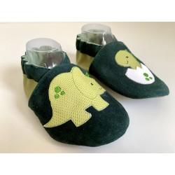 Chaussons en cuir souple - vert - dinosaures