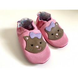 Chaussons en cuir souple - rose - chat