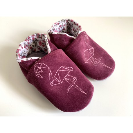 Chaussons en cuir souple - prune - flamand rose origami