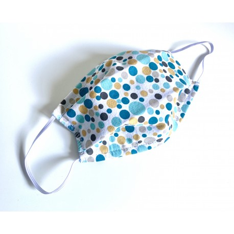 Masquillon ADULTE - motif - pois turquoise moutarde