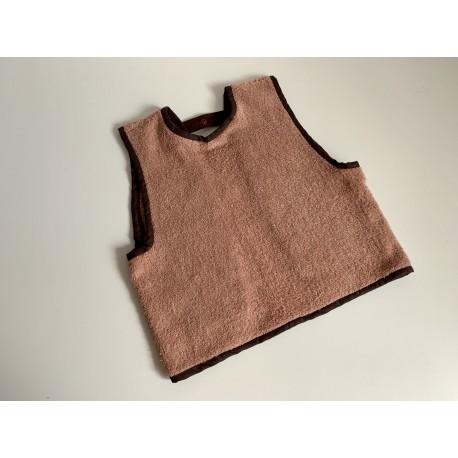 Bavoir à manches - tablier personnalisable - marron clair - pour bébé (6-30mois)