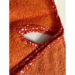 Bavoir à manches - tablier personnalisable - orange avec biais fleuri - pour bébé (6-30mois)