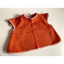 Bavoir à manches - tablier personnalisable - orange avec biais motif oranges fruitées  - pour bébé (6-30mois)