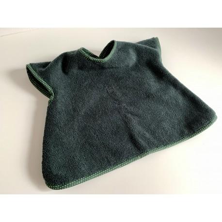 Bavoir à manches - tablier personnalisable - vert foncé biais à pois - pour bébé (6-30moiis)