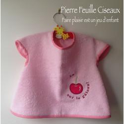 Bavoir à manches - tablier brodé pour bébé (6-30mois) - rose - La cerise sur le gateau