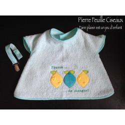 Bavoir à manches - tablier brodé pour bébé (6-30mois) - menthe - Pressé de manger