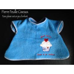Bavoir à manches - tablier brodé pour bébé (6-30mois)