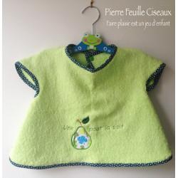 Bavoir à manches - tablier brodé pour bébé (6-30mois) - vert - une poire pour la soif