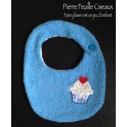 Bavoir naissance - bleu - cupcake