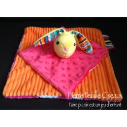 Doudou lapin plat - rose