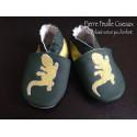 Chaussons en cuir souple vert - lézard