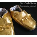 Chaussons en cuir souple doré - noeud