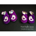 Chaussons en cuir souple - violet - oiseau liberty