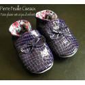 Chaussons en cuir souple - violets - noeuds