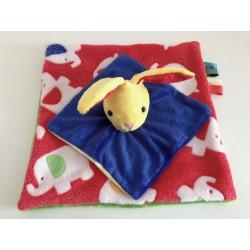 Doudou lapin plat - jaune bleu rouge